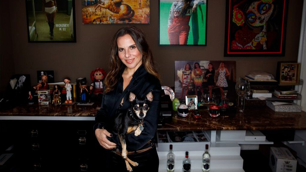 Kate del Castillo is photographed in her office with her dog, Lola, at her L.A. home in March.