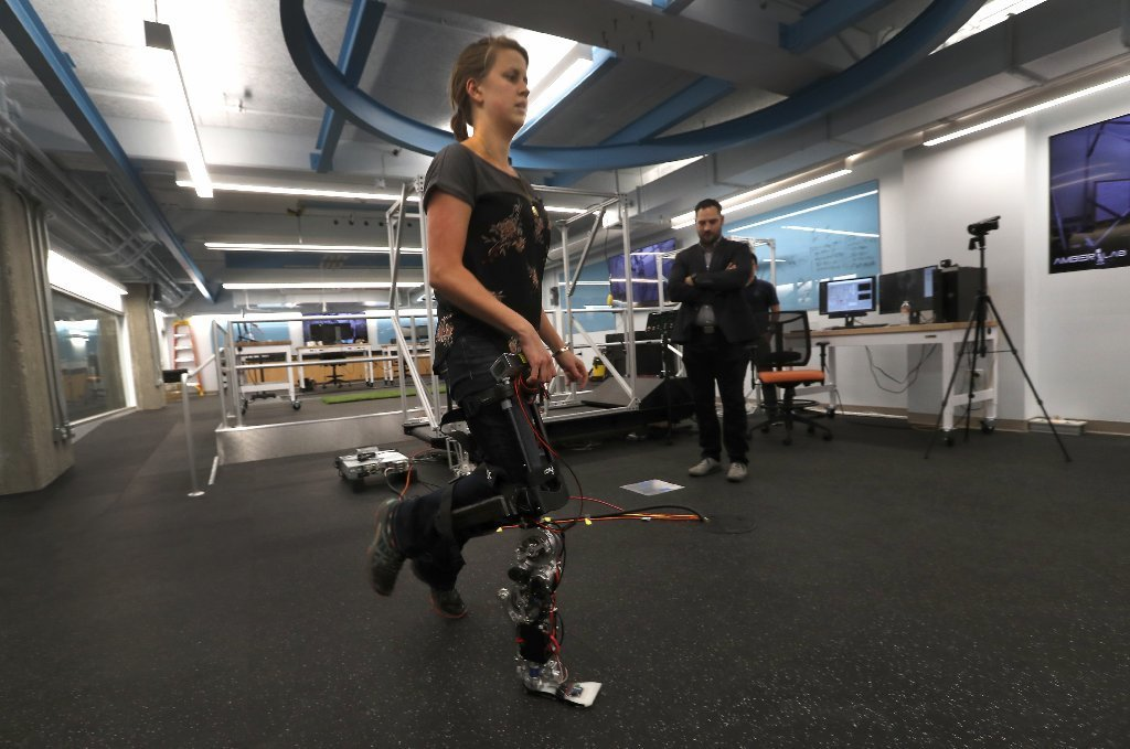 Inside Caltech's Advanced Mobility Lab, doctoral student Rachel Gehlhar demonstrates a prosthetic leg that can respond autonomously to a human's gait.