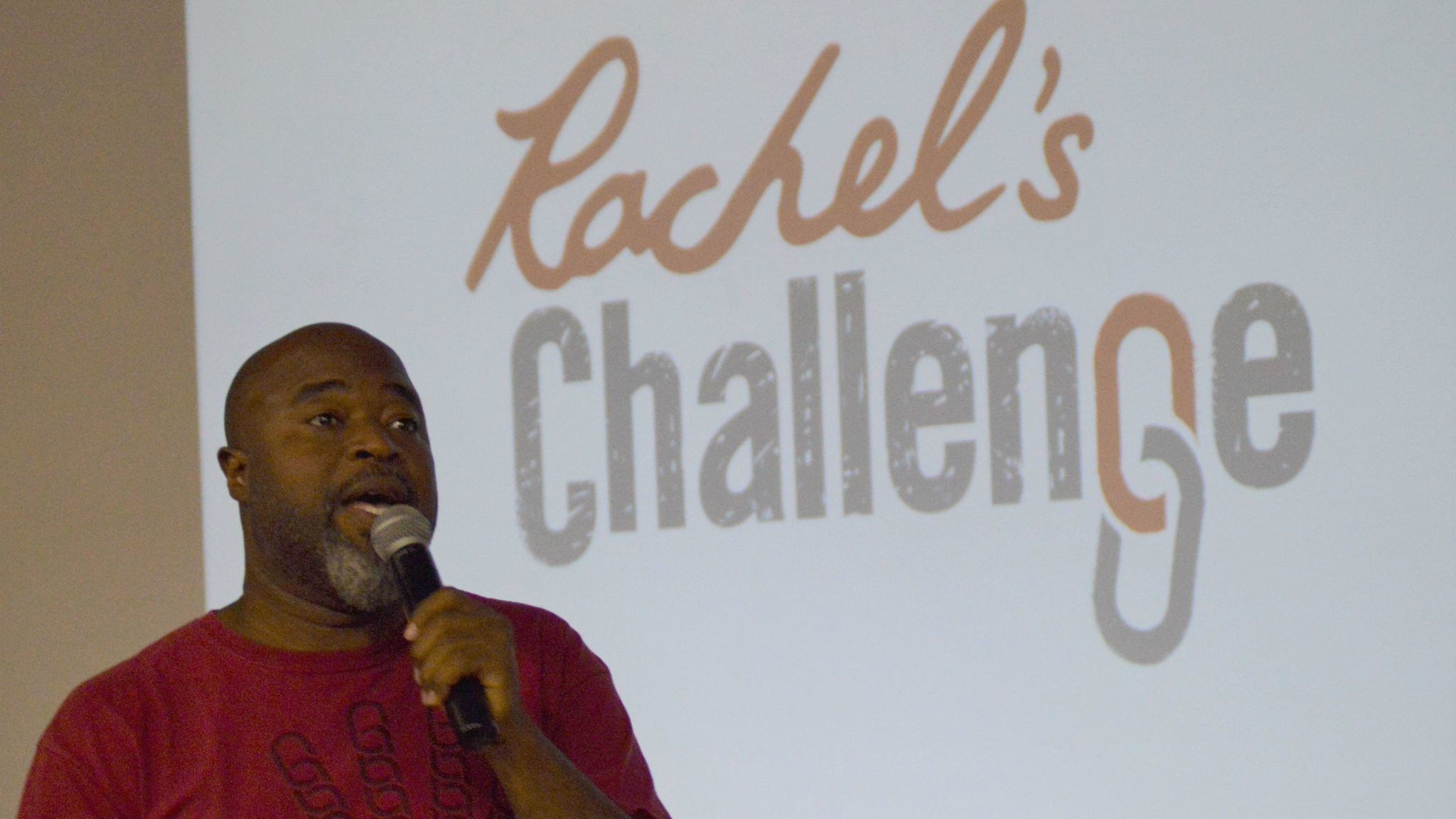 Fred Lynch presents the Rachel's Challenge program at one of two assemblies held in Ramona High School last Wednesday.