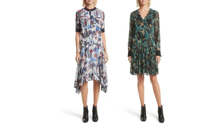 A print handkerchief hem dress with zipper details, left, and a print drop waist drawstring dress, b