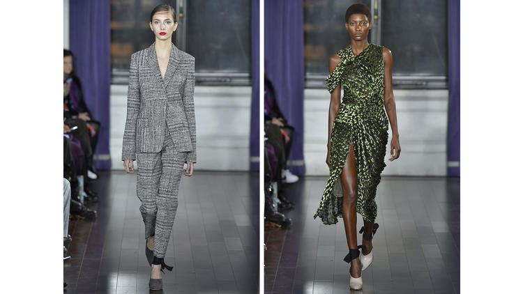 A houndstooth check suit and velvet evening dress from Jason Wu's fall collection.