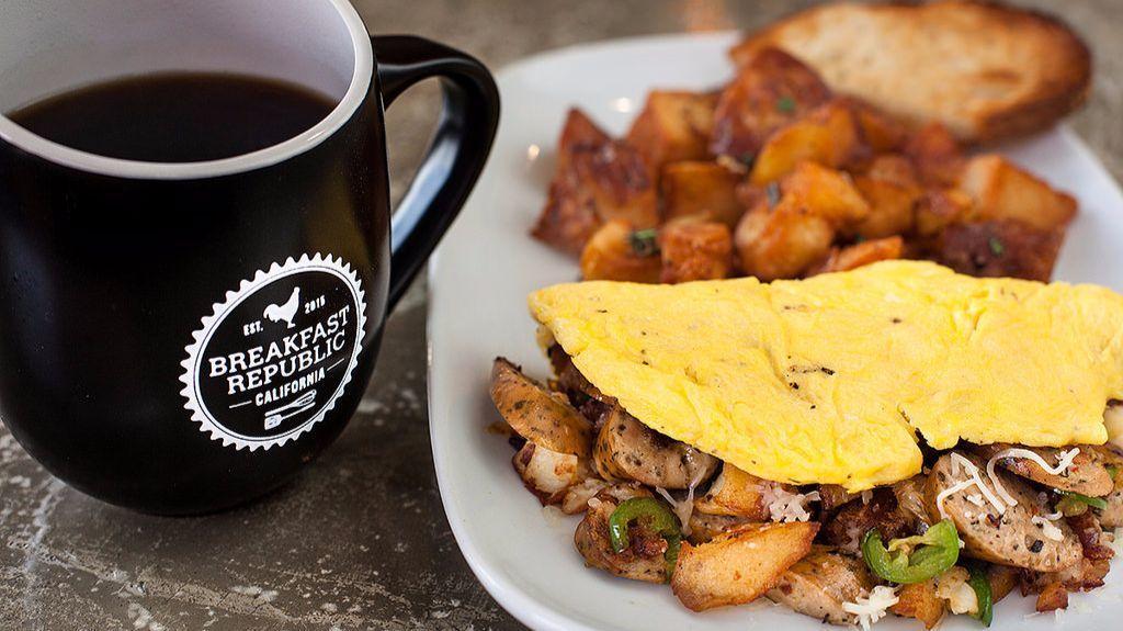 Breakfast Republic's Asiago-Fennel Sausage Omelet