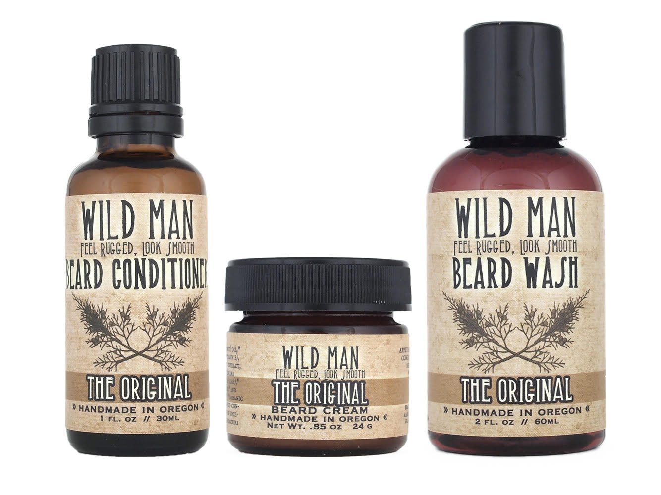 """Wild Rose, an Oregon-based company, has packed its """"Wild Man"""" beard"""" conditioner, beard wash and be"""