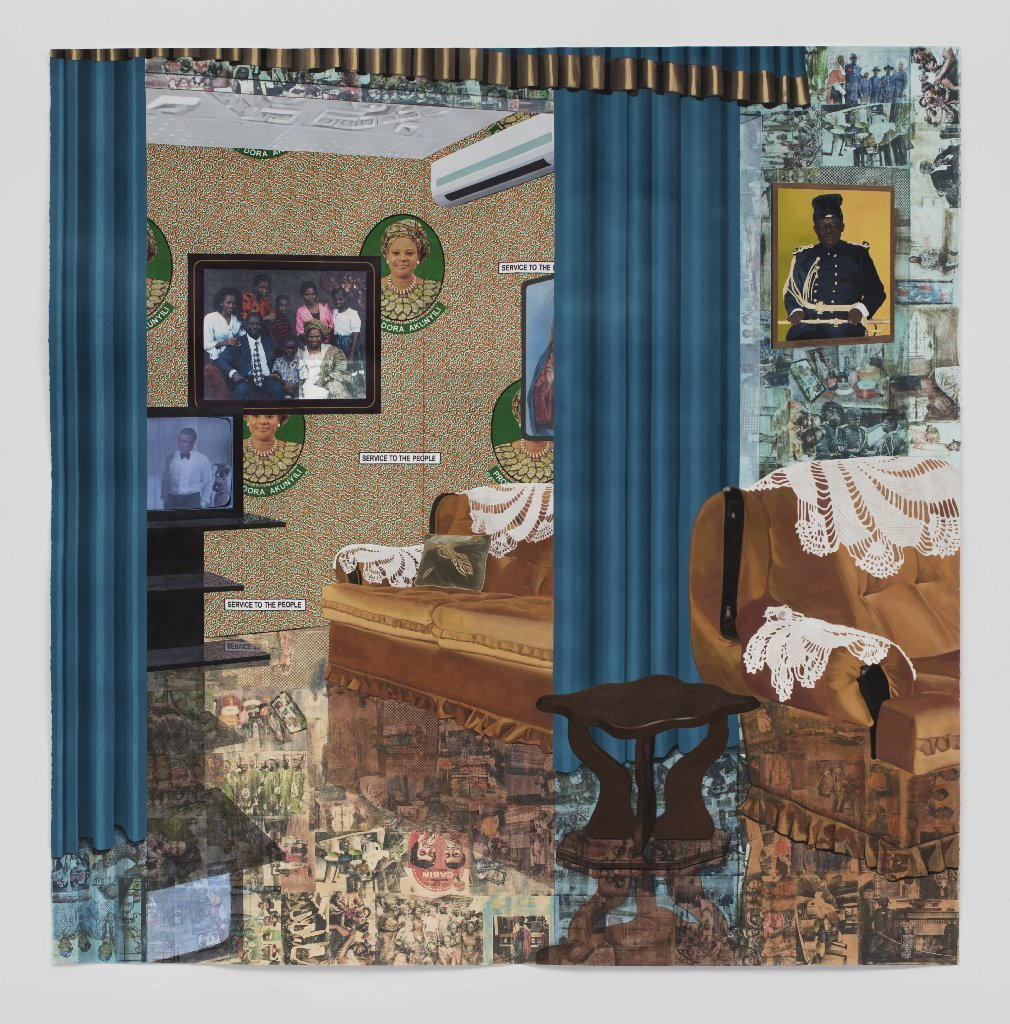 """Njideka Akunyili Crosby's """"Home: As You See Me,"""" 2017. The work includes acrylic, transfers, colored pencil, charcoal, collage and commemorative fabric on paper."""