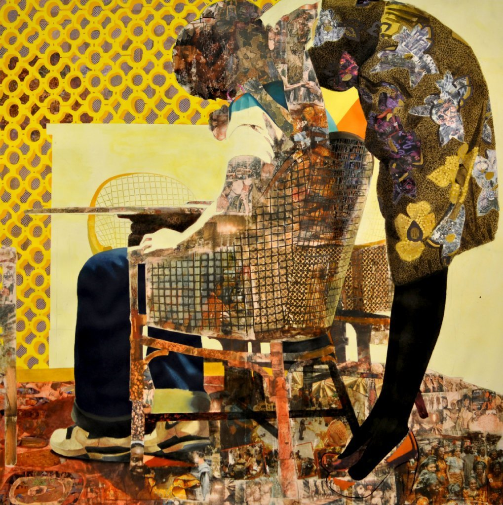 """Njideka Akunyili Crosby's """"Nyado: The Thing Around Her Neck,"""" 2011. It includes charcoal, acrylic, colored pencil, lace collage and Xerox transfers on paper."""