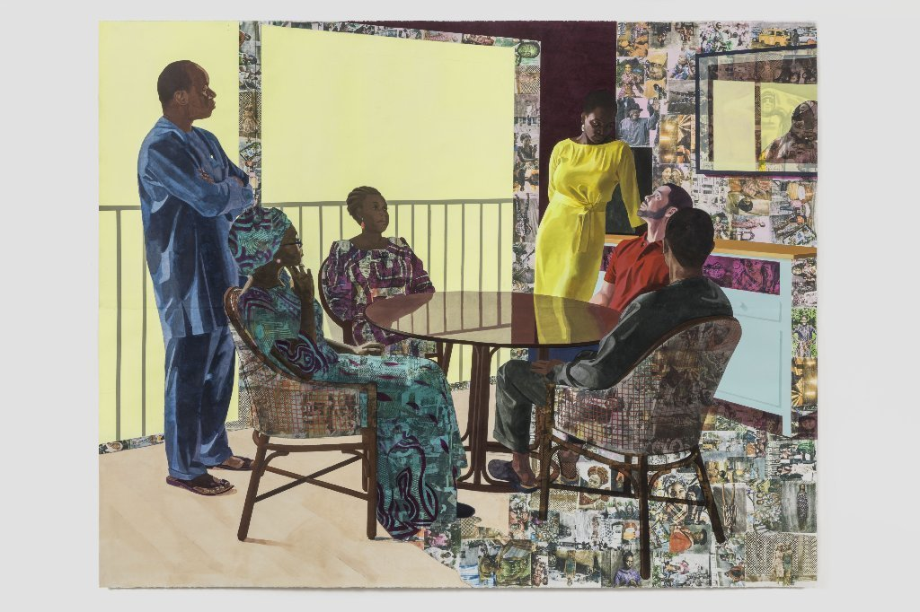 """Njideka Akunyili Crosby's """"I Still Face You,"""" 2015. Acrylic, charcoal, colored pencils, collage, oil and transfers on paper"""