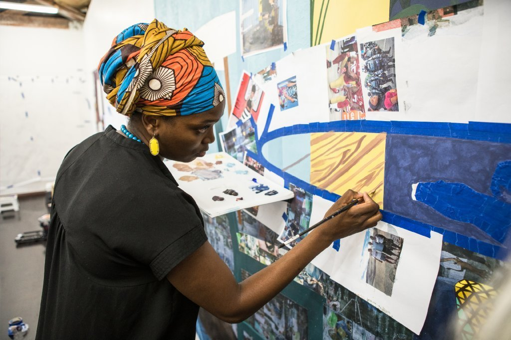 Njideka Akunyili Crosby, photographed in her studio in Los Angeles last month before the MacArthur announcement.