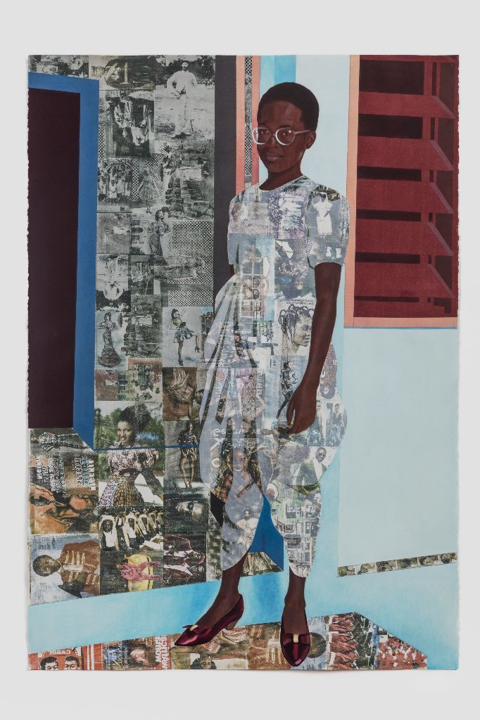 """Njideka Akunyili Crosby's """"The Beautyful Ones, Series #1c,"""" 2014. Acrylic, color pencils and transfers on paper."""