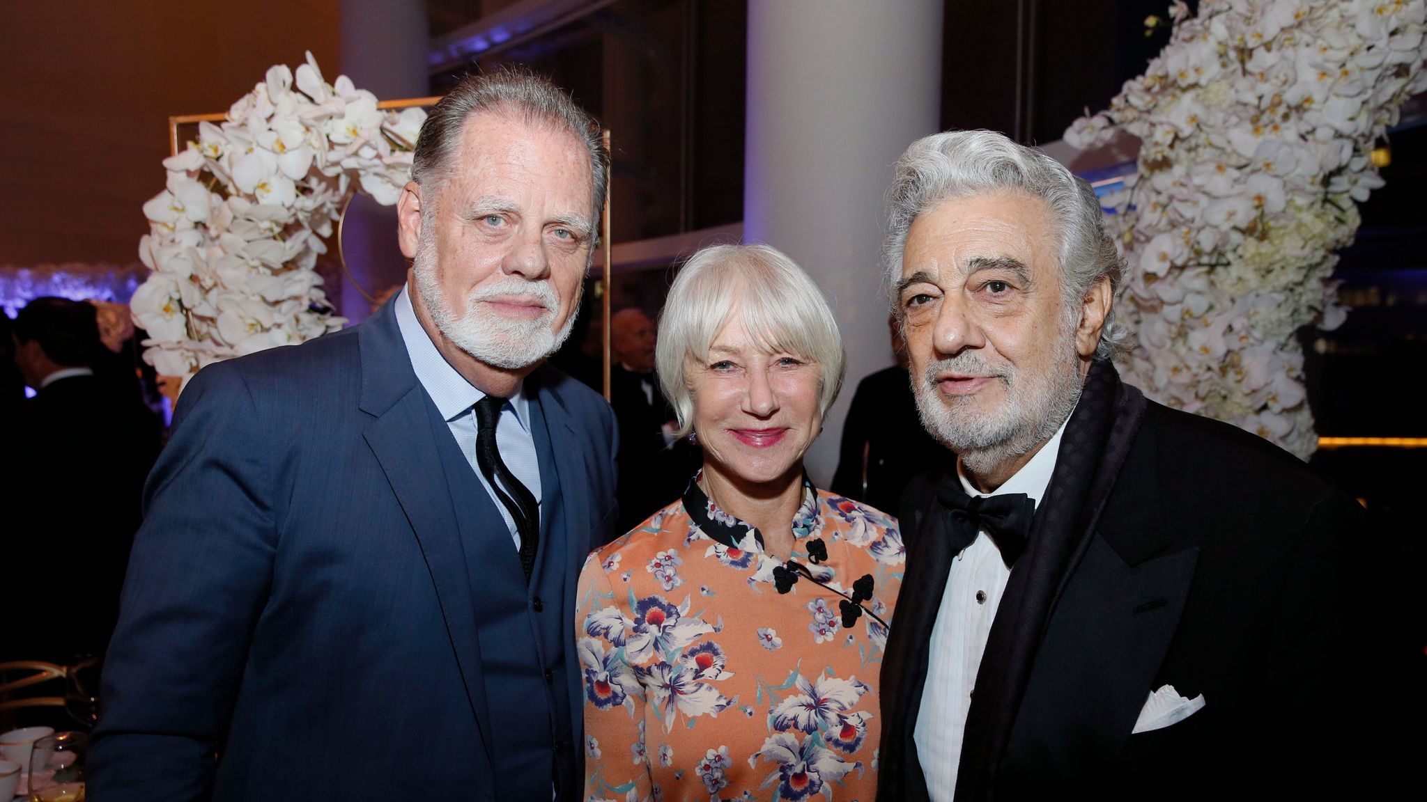 Taylor Hackford, left, Dame Helen Mirren, center and Placido Domingo at the South Coast Plaza Art, Excellence + Friendship, an evening with the Mariinsky Theatre Orchestra at Segerstrom Center for the Arts Monday, October 30, 2017.