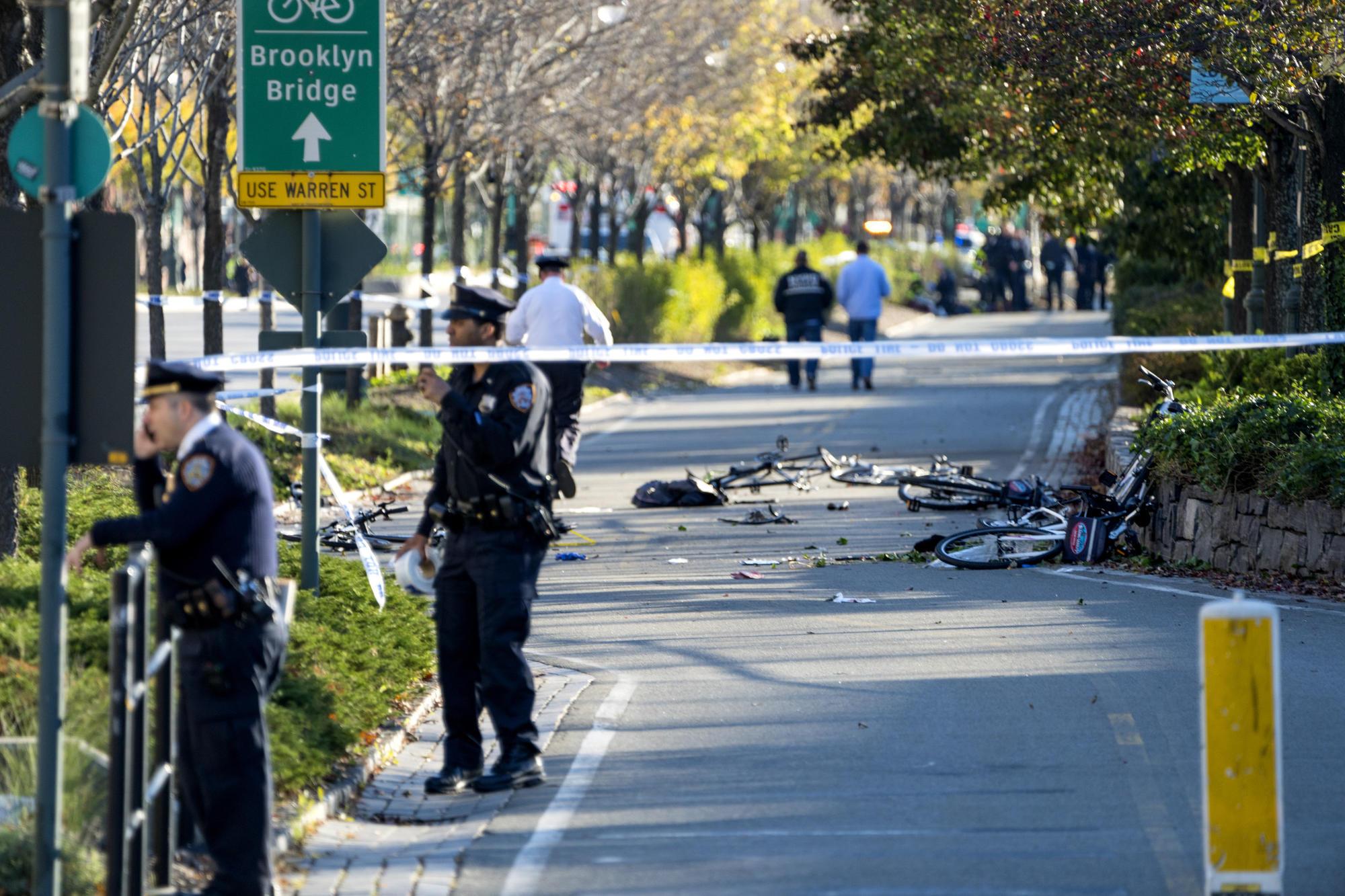 Pickup strikes bicyclists in Lower Manhattan