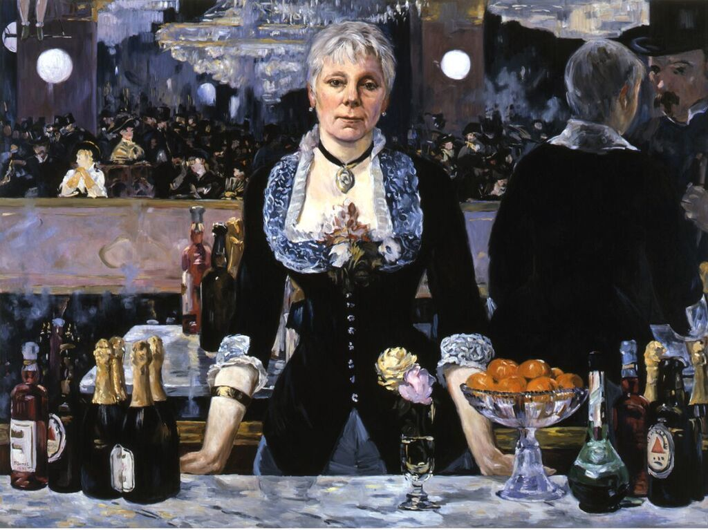 """Linda Nochlin at the Bar at the Folies-Bergère,"" 2005, by Kathleen Gilje, created in collaboration with Nochlin, who chose the image the painting is based on, Édouard Manet's 1882 canvas ""A Bar at the Folies-Bergère."""