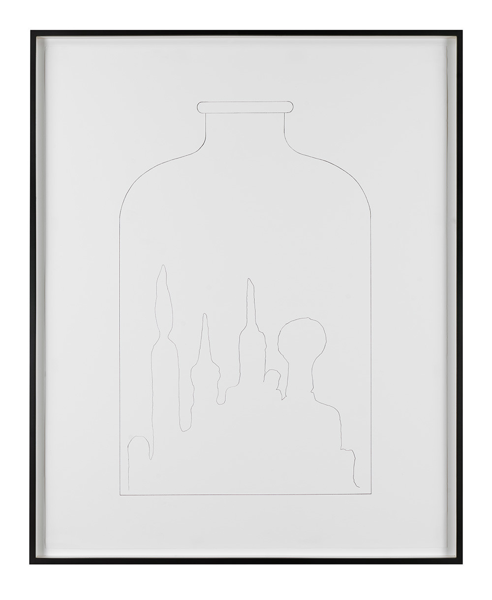"Mike Kelley, ""No Title (Kandor bottle drawing),"" 2005, pencil."
