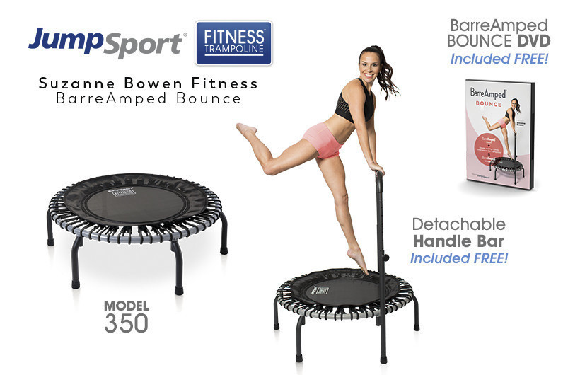 At-home rebounder Trampoline workouts are hot again and this BarreAmped Bundle from Jumpsport provid