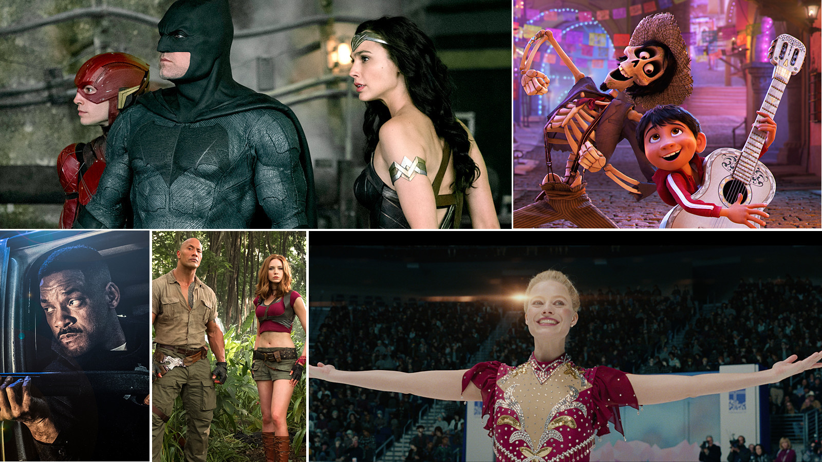 """Justice League,"" ""Coco,"" ""I, Tonya,"" ""Jumanji: Welcome to the Jungle"" and ""Bright"" are among the movies on the holiday list. (Handout)"