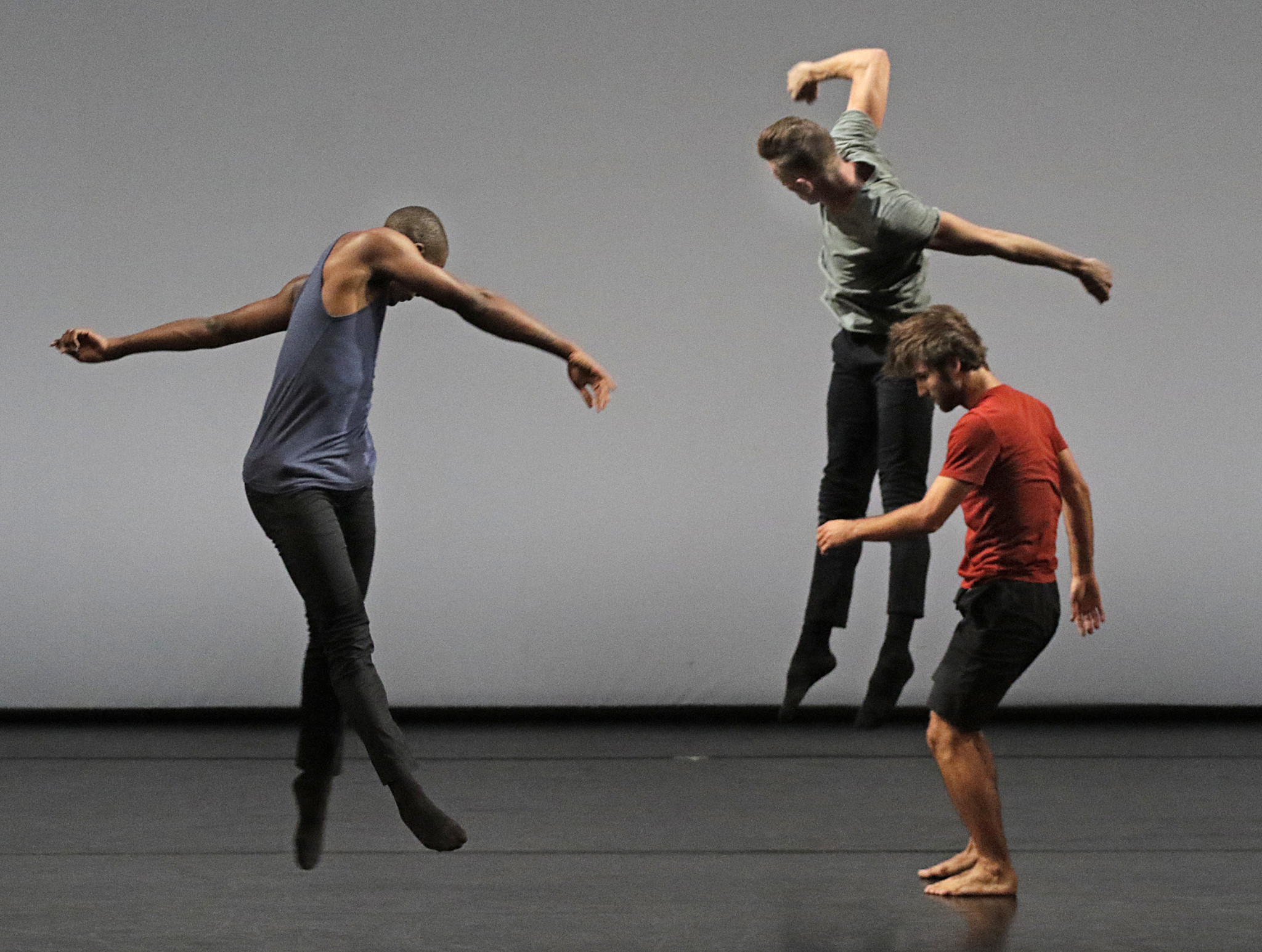 "David Adrian Freeland Jr., left, Nathan Makolandra and Aaron Carr of L.A. Dance Project perform ""Second Quartet."""