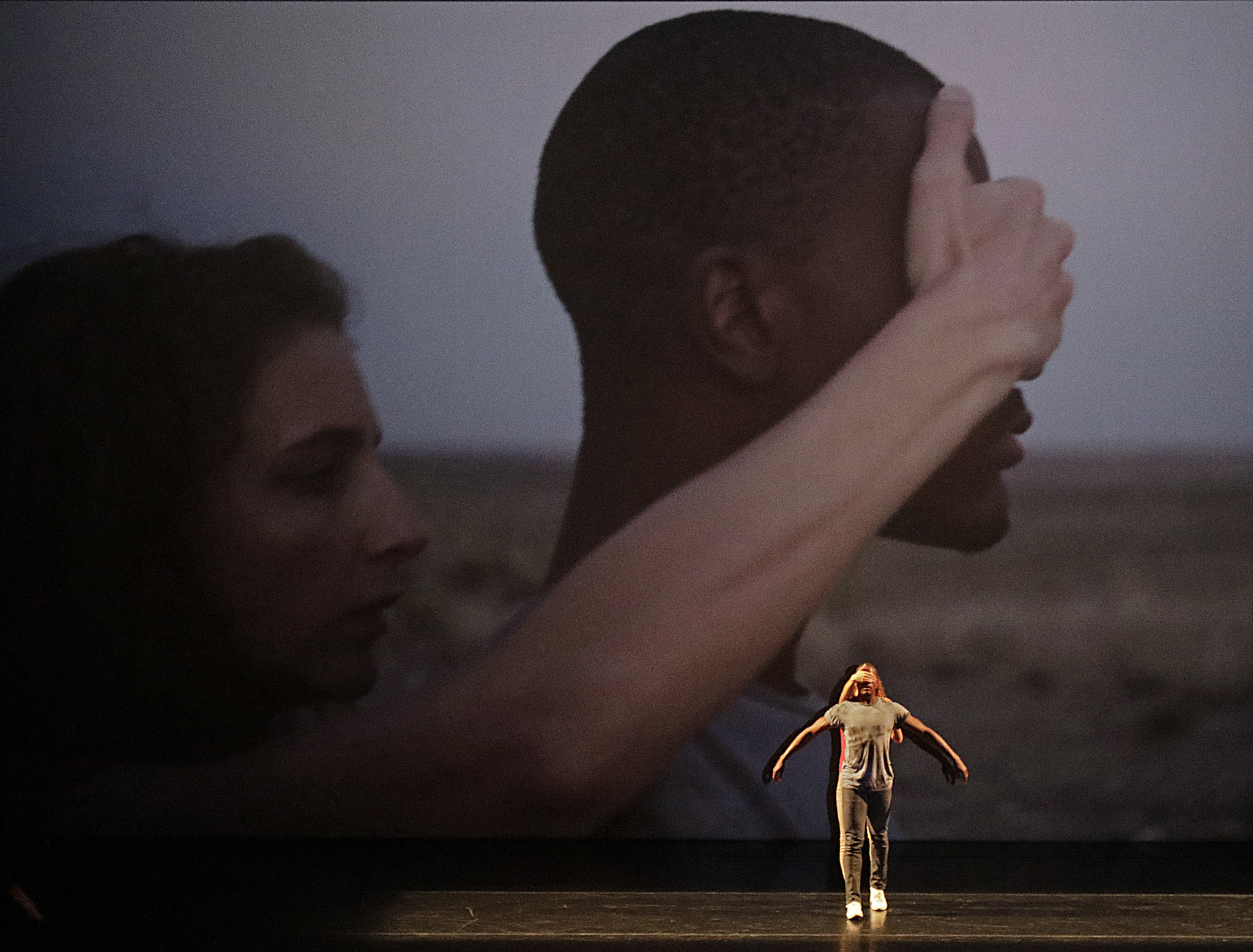 "David Adrian Freeland Jr. and Rachelle Rafailedes dance with a video directed by Benjamin Millepied in ""Orpheus Highway."""