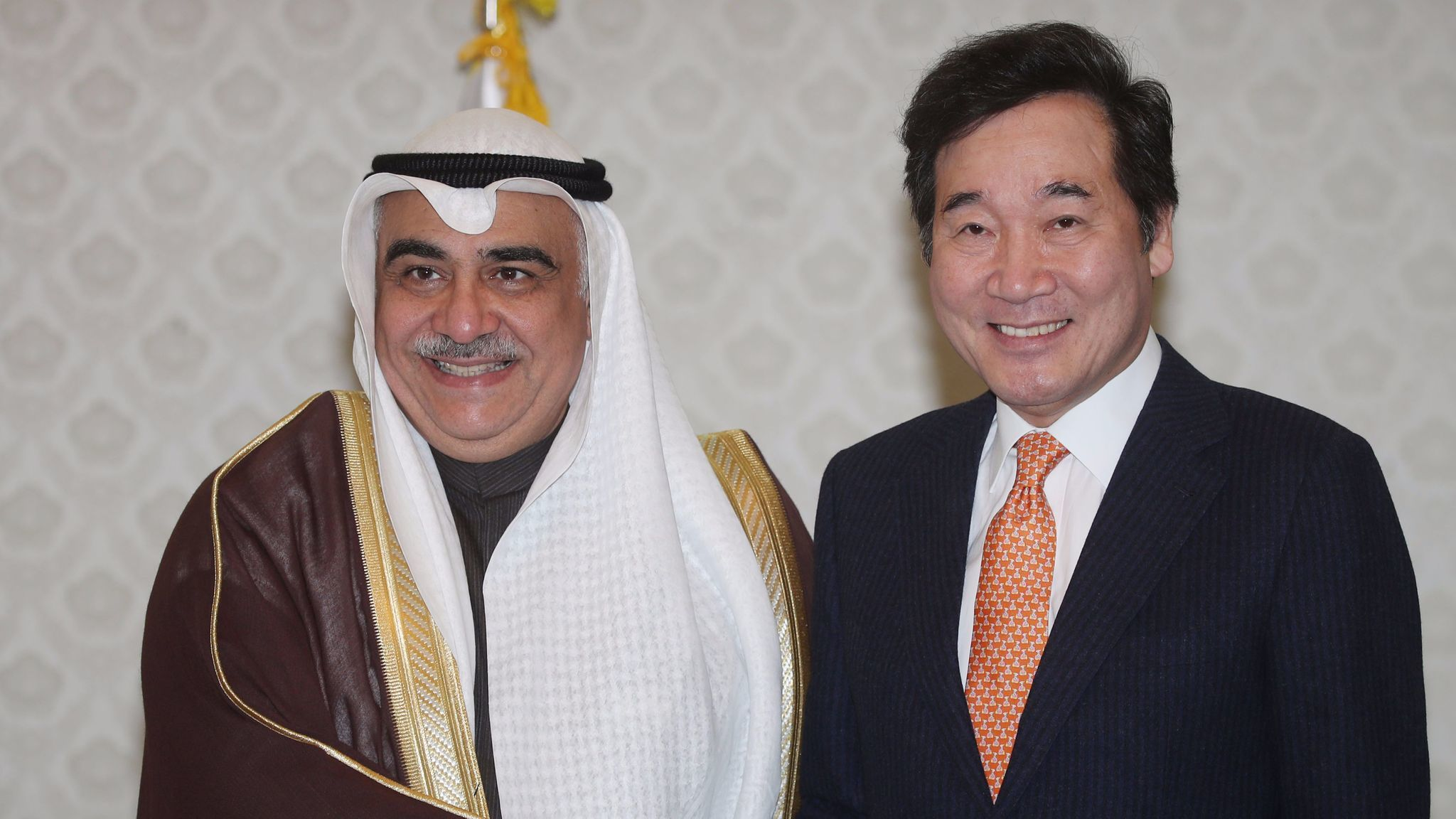 Saudi Arabia's then-Minister of Economy and Planning Adel Fakeih poses with South Korean Prime Minister Lee Nak-yeon on a visit to Seoul in October 2017.