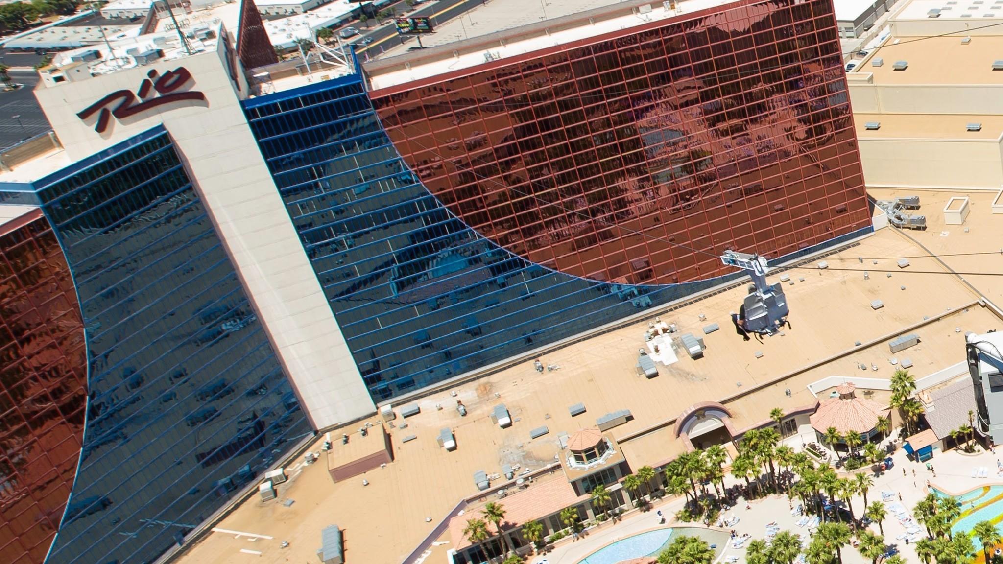 With the Strip resorts as a backdrop, the VooDoo Zipline sends thrill seekers on a ride between the Rio resort's two hotel towers.