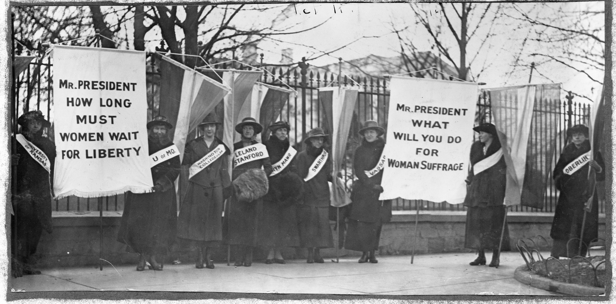 Women picket in front of the White House in February 1917.