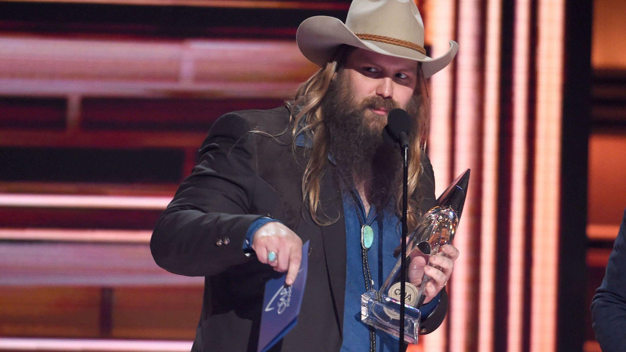 Chris Stapleton accepts the album of the year award at the CMA Awards.