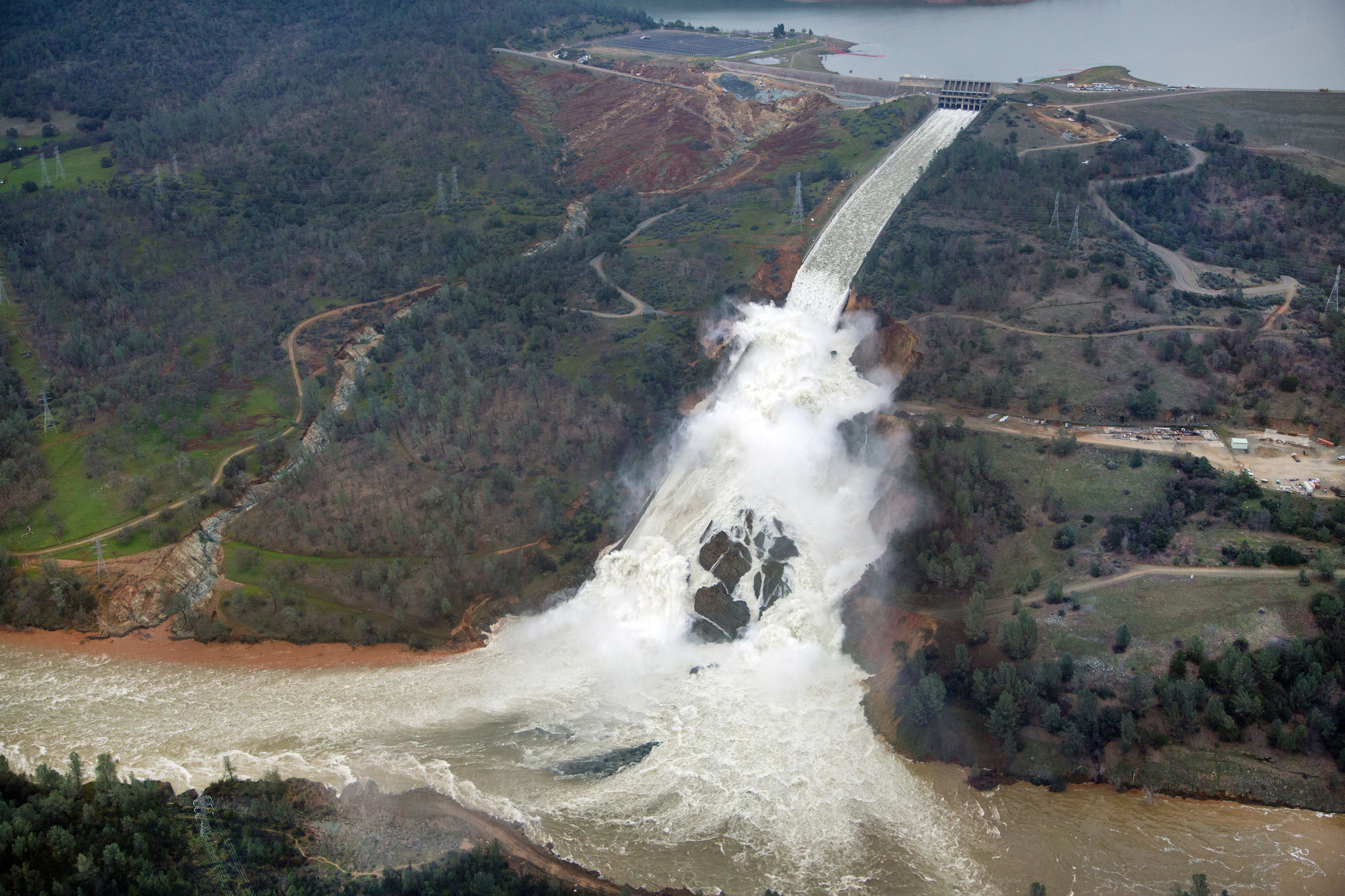 This aerial view looks east toward Oroville Dam and Lake Oroville on Feb. 15.