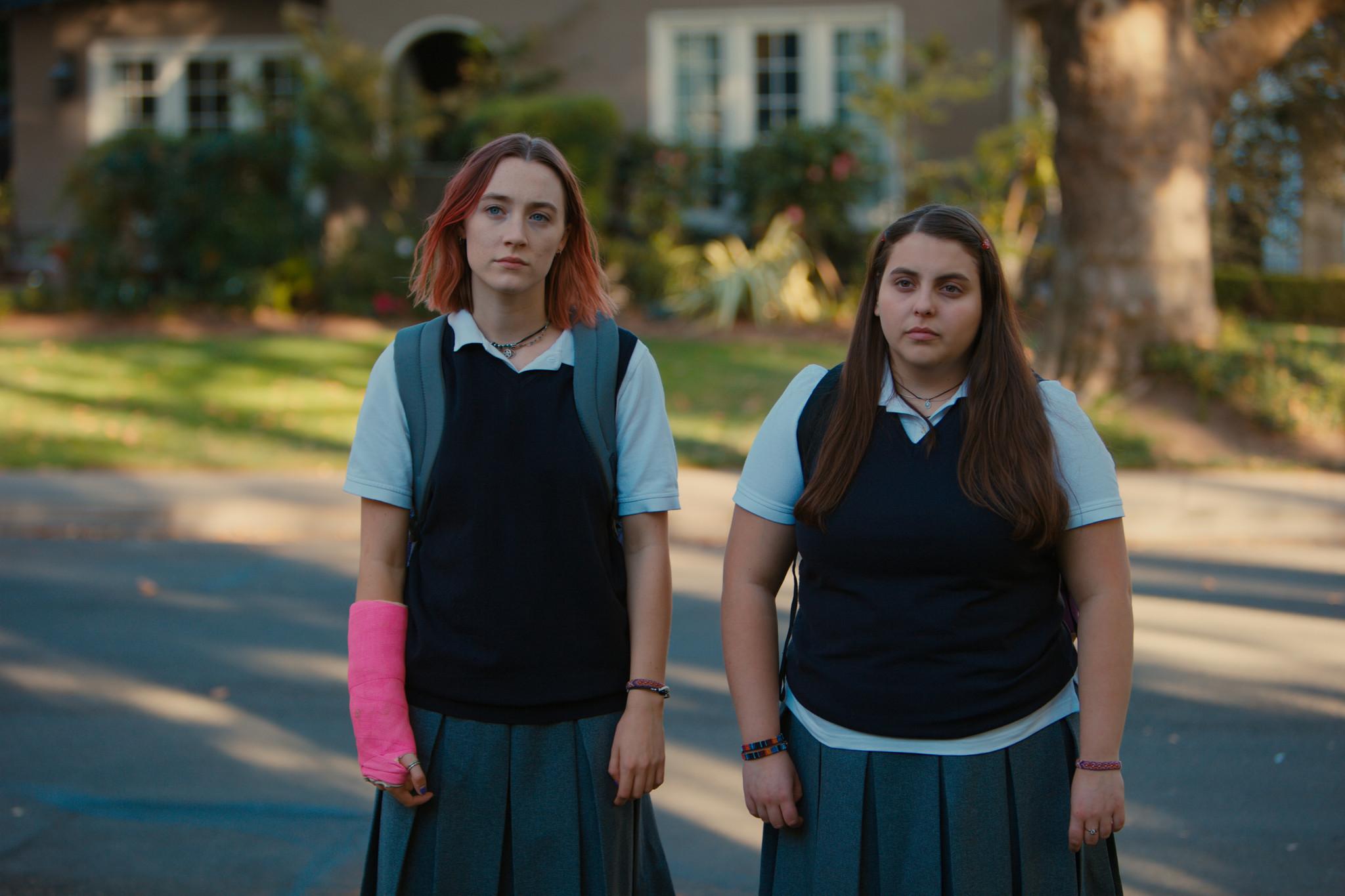 "Beanie Feldstein, right, with Saoirse Ronan in the movie ""Lady Bird."""
