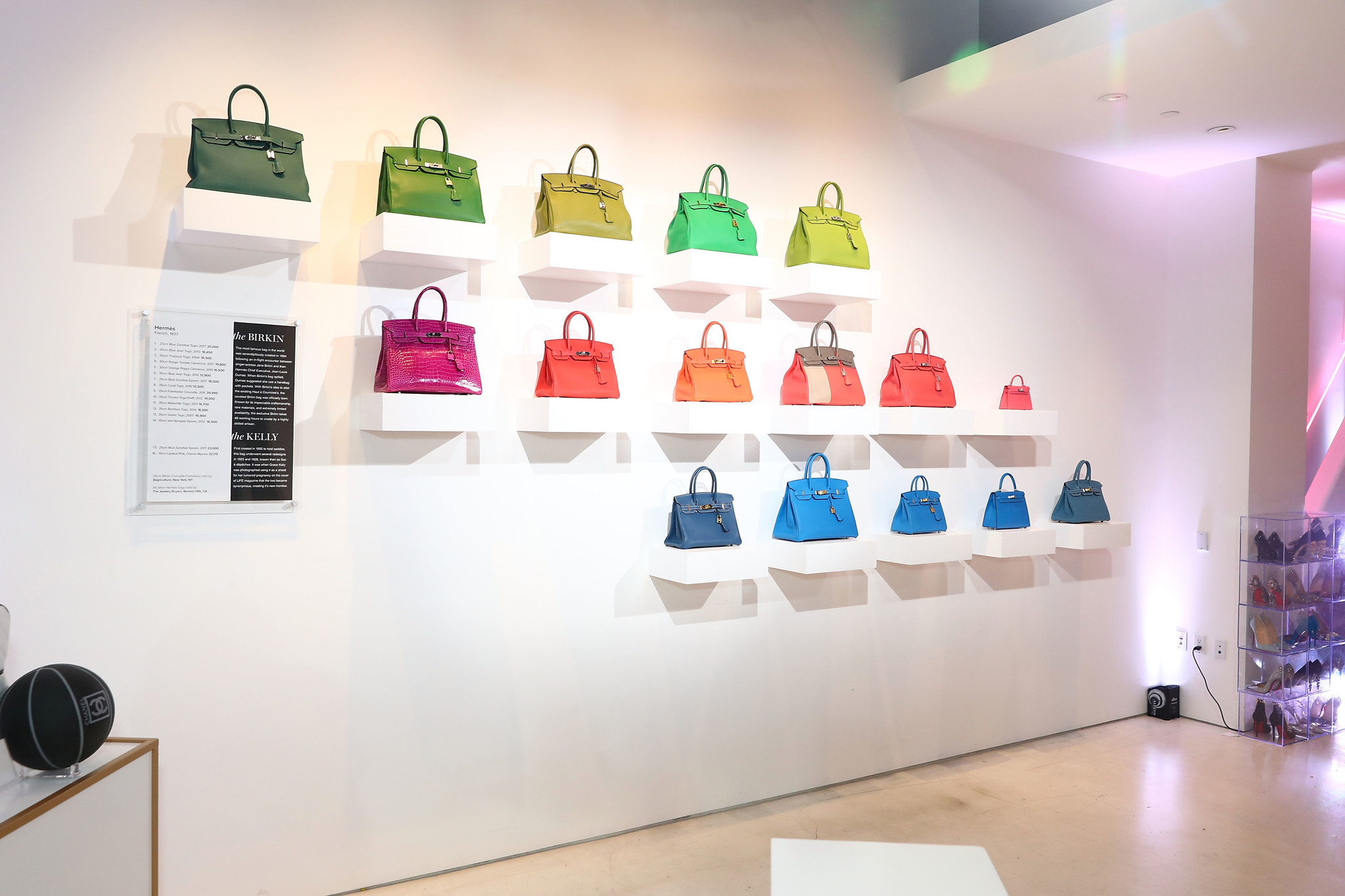 A selection of vintage Hermès Birkin bags are displayed art-gallery style in the new Tradesy space in Santa Monica.
