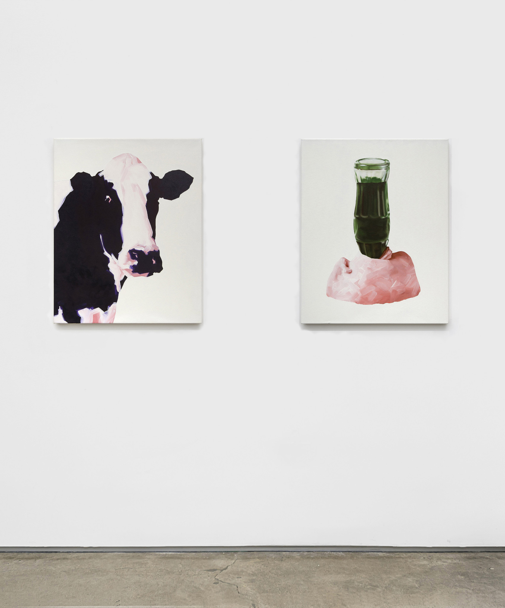 """""""Democracy (Cow),"""" left, and """"Democracy (Love),"""" by Michael St. John at Edward Cella Art & Architecture."""