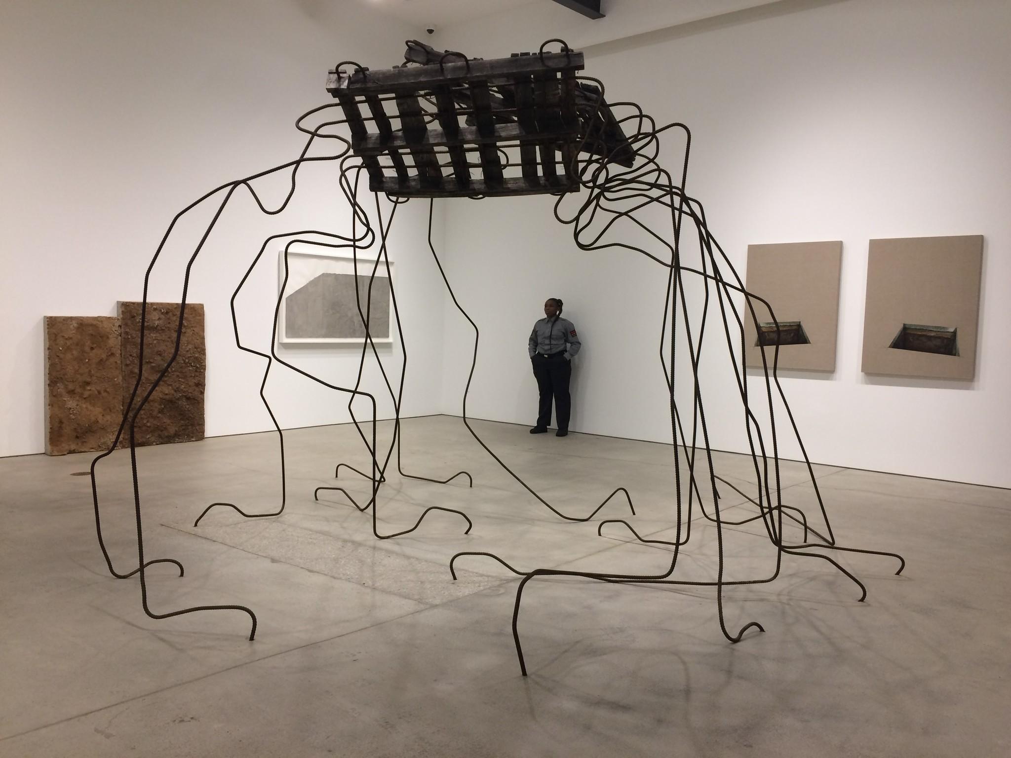 An installation view of Ruben Ochoa's one-man show at Art + Practice in Leimert Park.