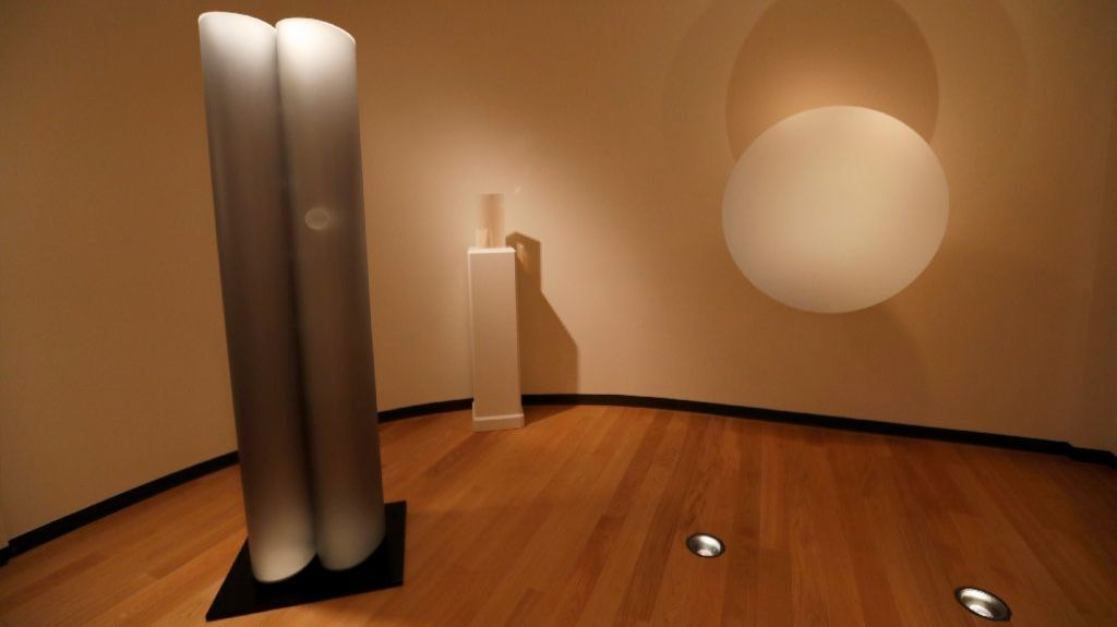 Light & Space sculptures by, from left, Helen Pashgian, DeWain Valentine and Robert Irwin.