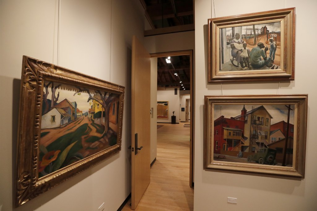Landscapes and genre scenes from the 1920s and '30s by lesser-known artists such as Rowena Meeks Abdy, left; Phil Paradise, top right; and, Joseph Weisman, bottom right, are represented.