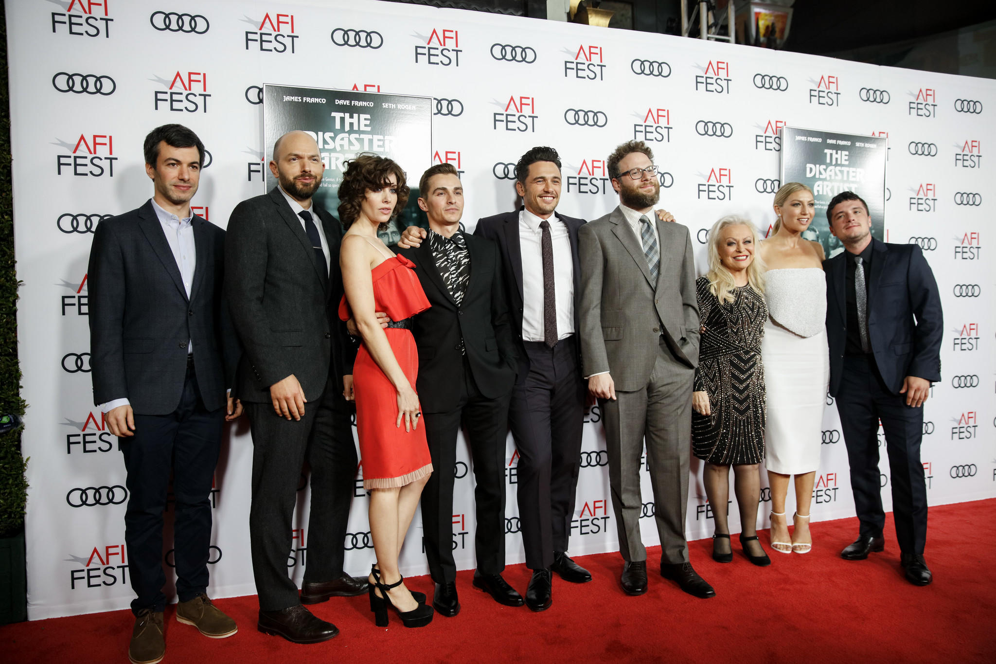 Nathan Fielder, Paul Scheer, Alison Brie, Dave Franco, James Franco, Seth Rogen, Jacki Weaver, Ari Graynor, and Josh Hutcherson pose on the red carpet for the AFI Fest 2017 Gala presentation of (Jay L. Clendenin / Los Angeles Times)