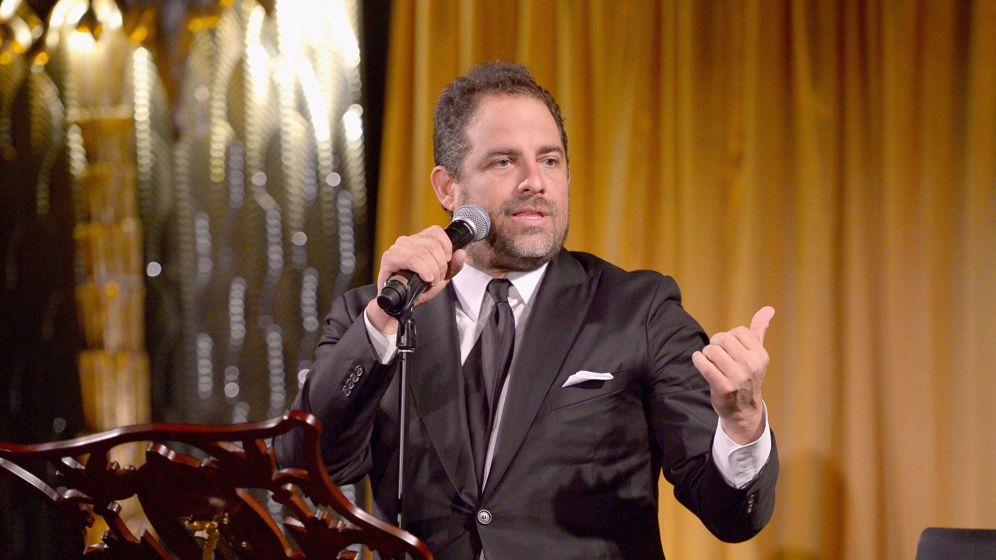 Host Brett Ratner speaks during an event for United Nations Secretary-General Ban Ki-moon at Hilhaven Lodge in 2016.