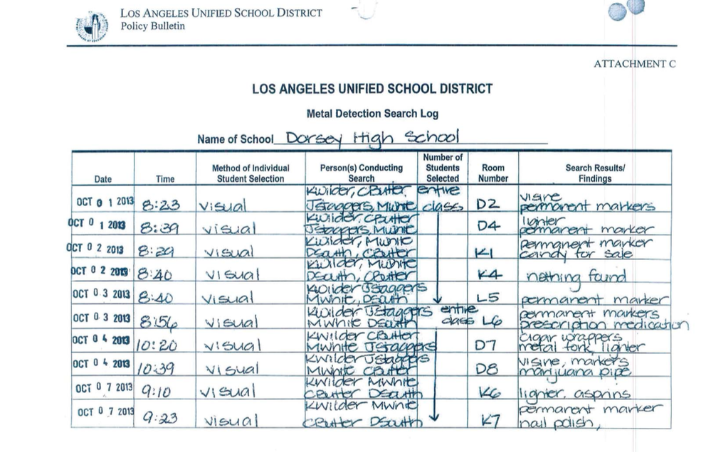 A 2013 student search log from Dorsey High School