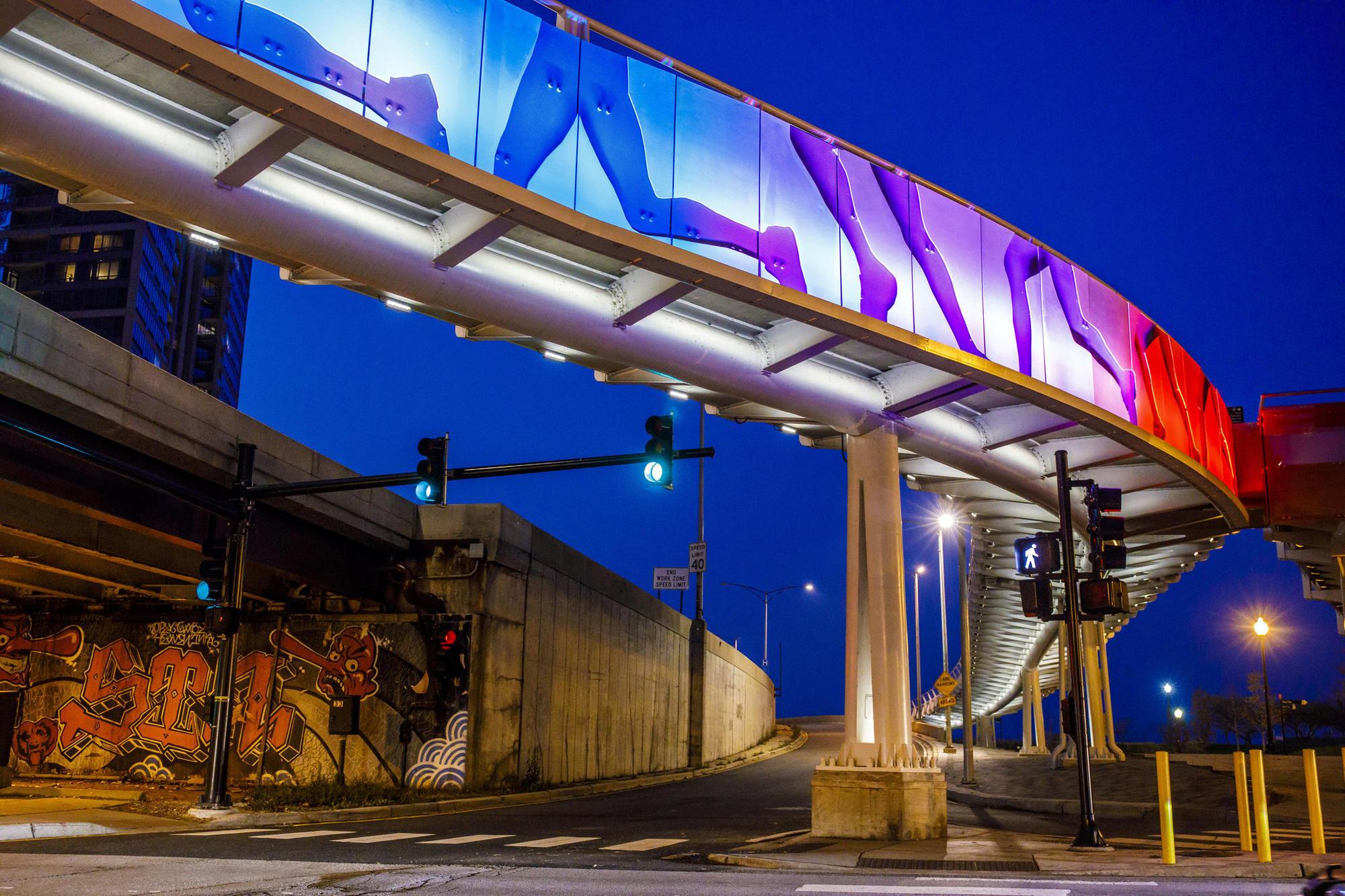 Parts Of A Column >> City explains lights on unfinished Navy Pier flyover ...