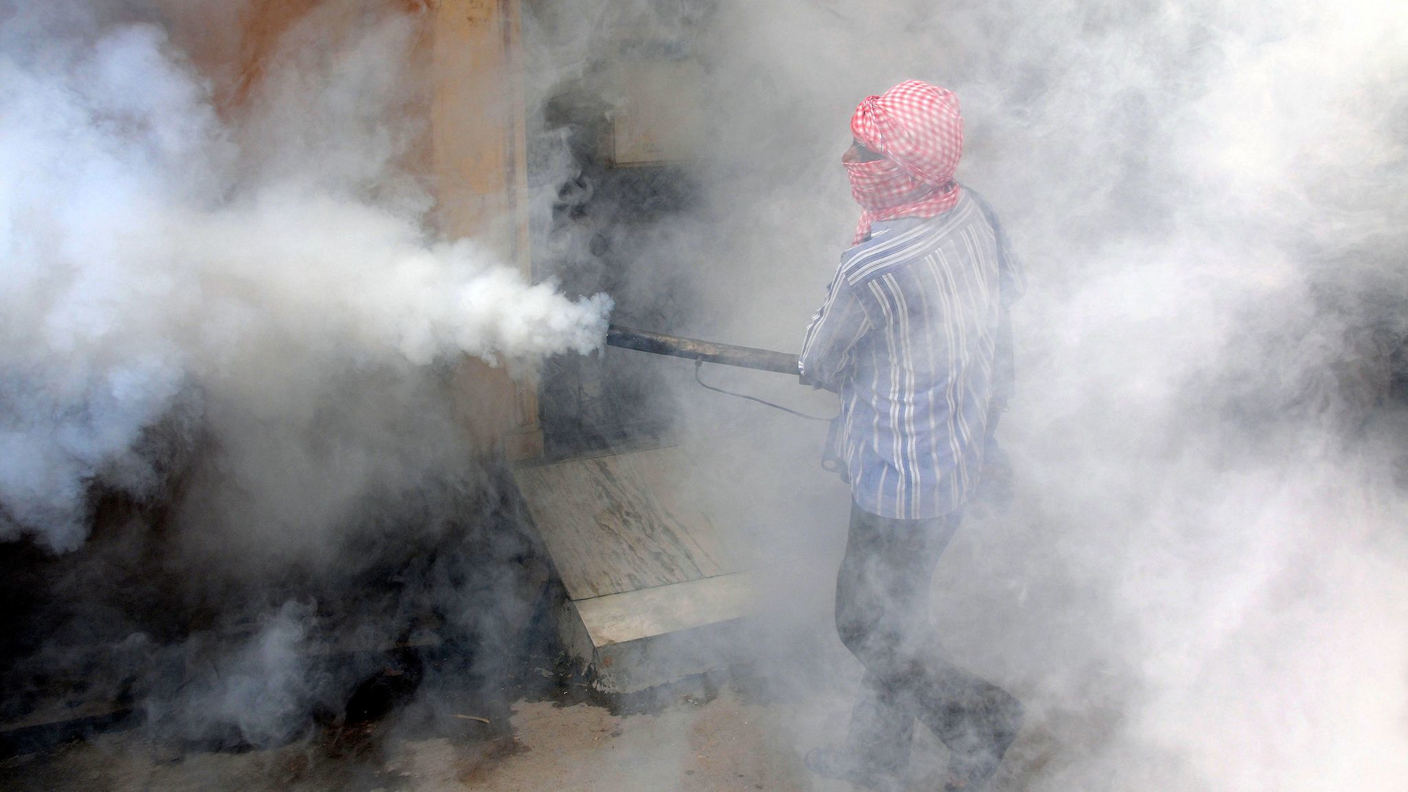 A worker fumigates a location in New Delhi to kill mosquitoes.