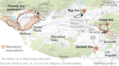 Fire Map In Southern California.Before And After Where The Thomas Fire Destroyed Buildings In