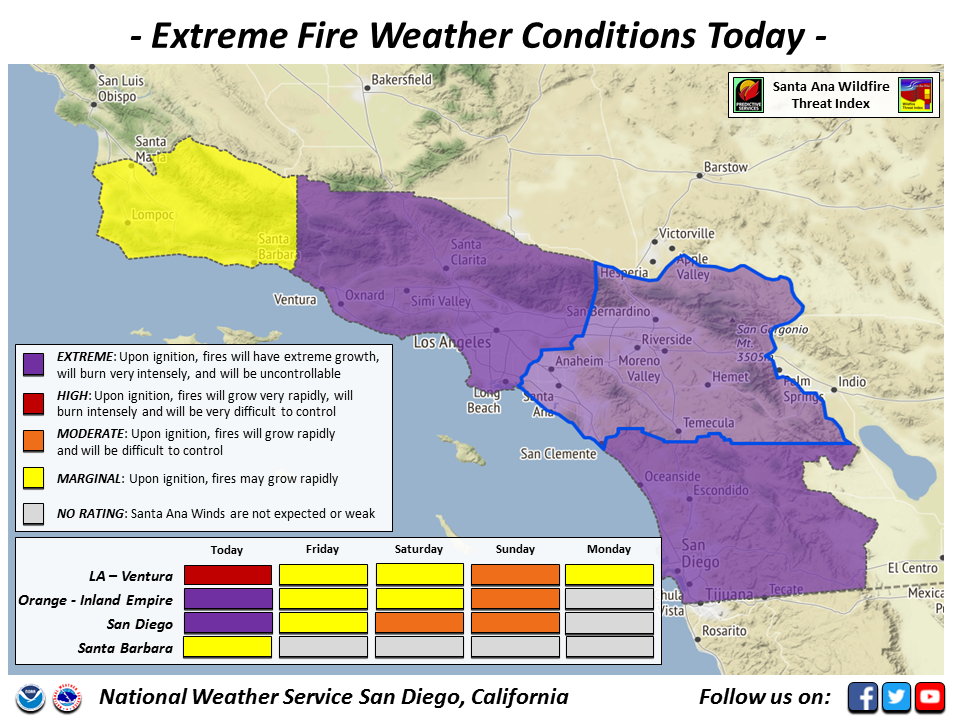 San Diego Fire Weather Is So Extreme Purple Is The New Red The