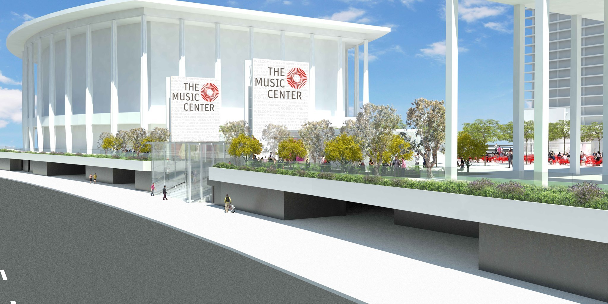 A rendering of the Music Center's new plaza, streetside.