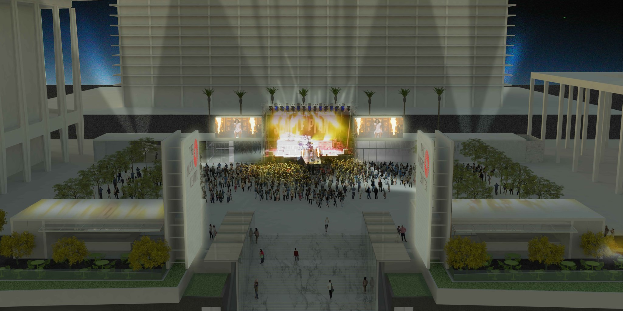A rendering of the new Music Center plaza at night.