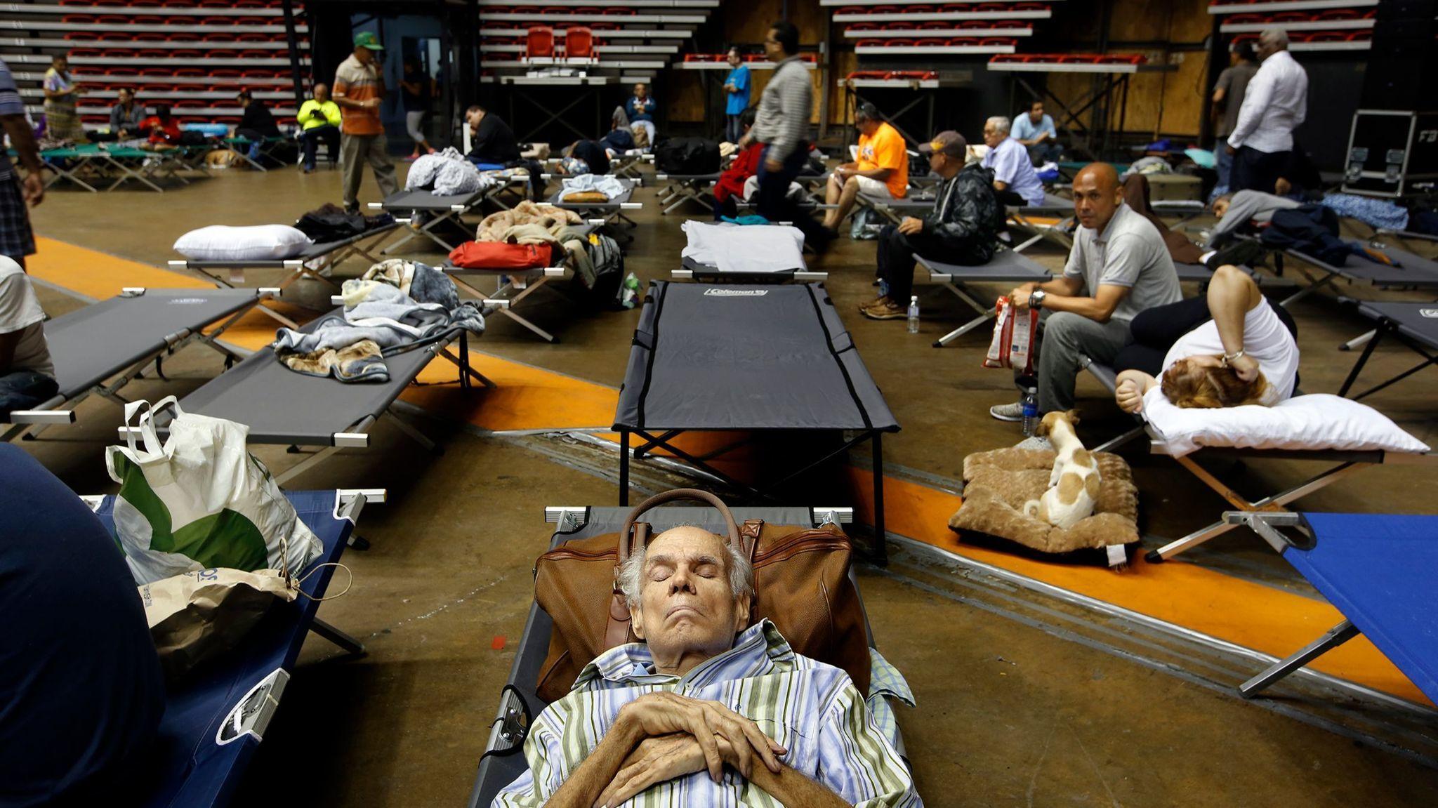 SAN JUAN, PUERTO RICO--SEPT. 19, 2017--Hundreds of San Juan residents have taken shelter at the Robe