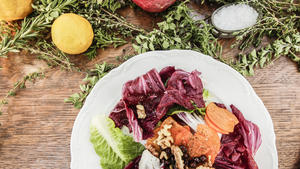Winter salad of radicchio, romaine and persimmons