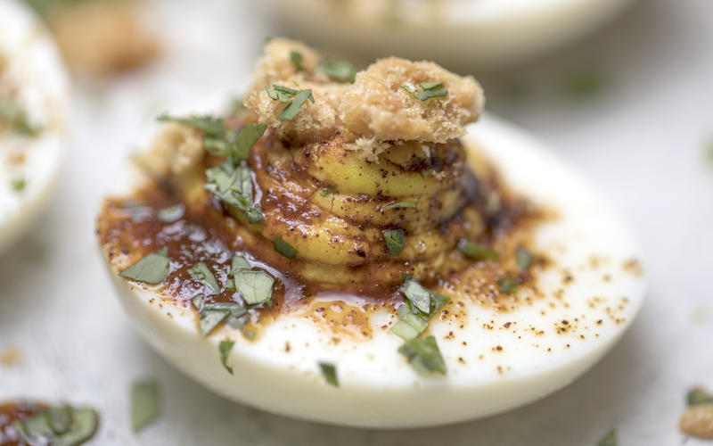 Deviled eggs with chicharrones