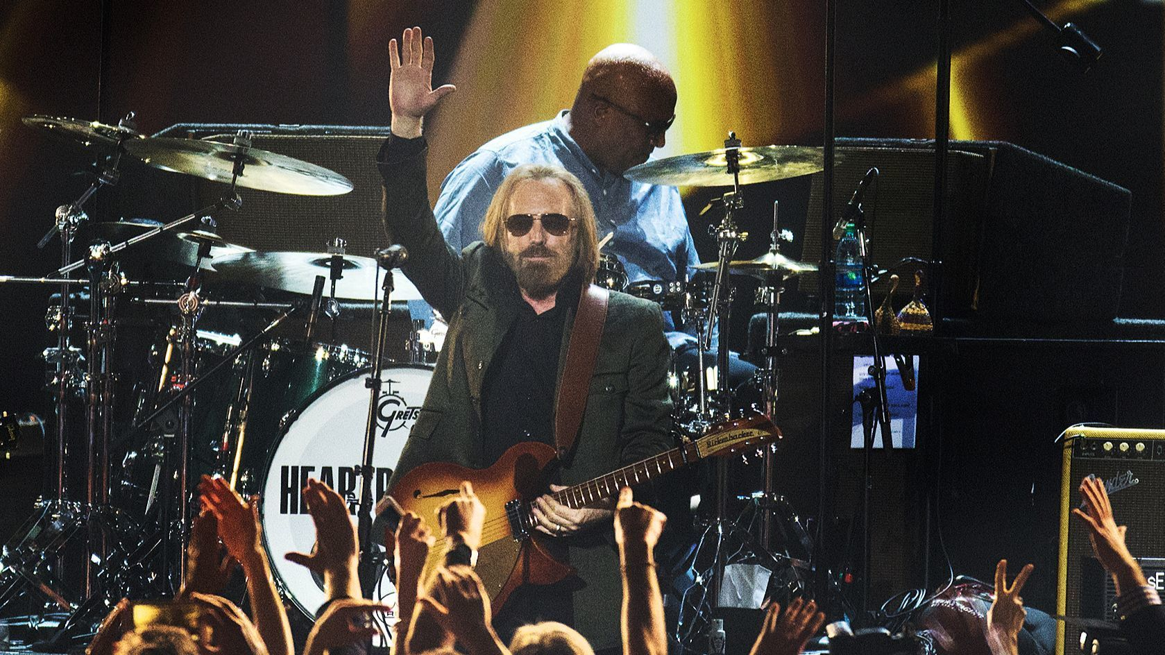 LOS ANGELES, CA - FEBRUARY 10, 2017 : Tom Petty acknowledges the crowd while performing as the honor
