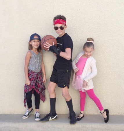 For Career Day, Lucy LaTour dresses as a hip hop dancer, Jack LaTour as a basketball player and Claire LaTour as a ballerina.