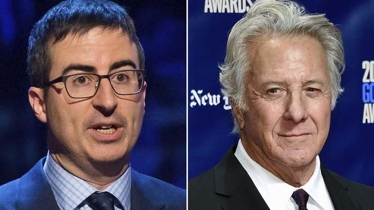 In this combination photo, John Oliver appears at the Stand Up for Heroes event in New York on Feb.