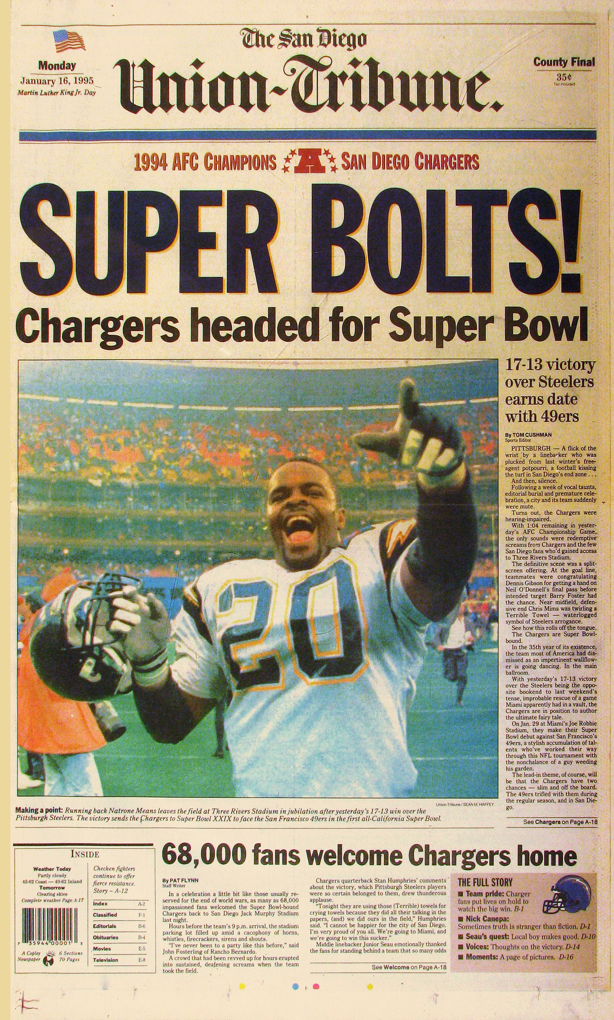 online retailer 5a42b 1843c January 16, 1995: Chargers headed for Super Bowl - The San ...