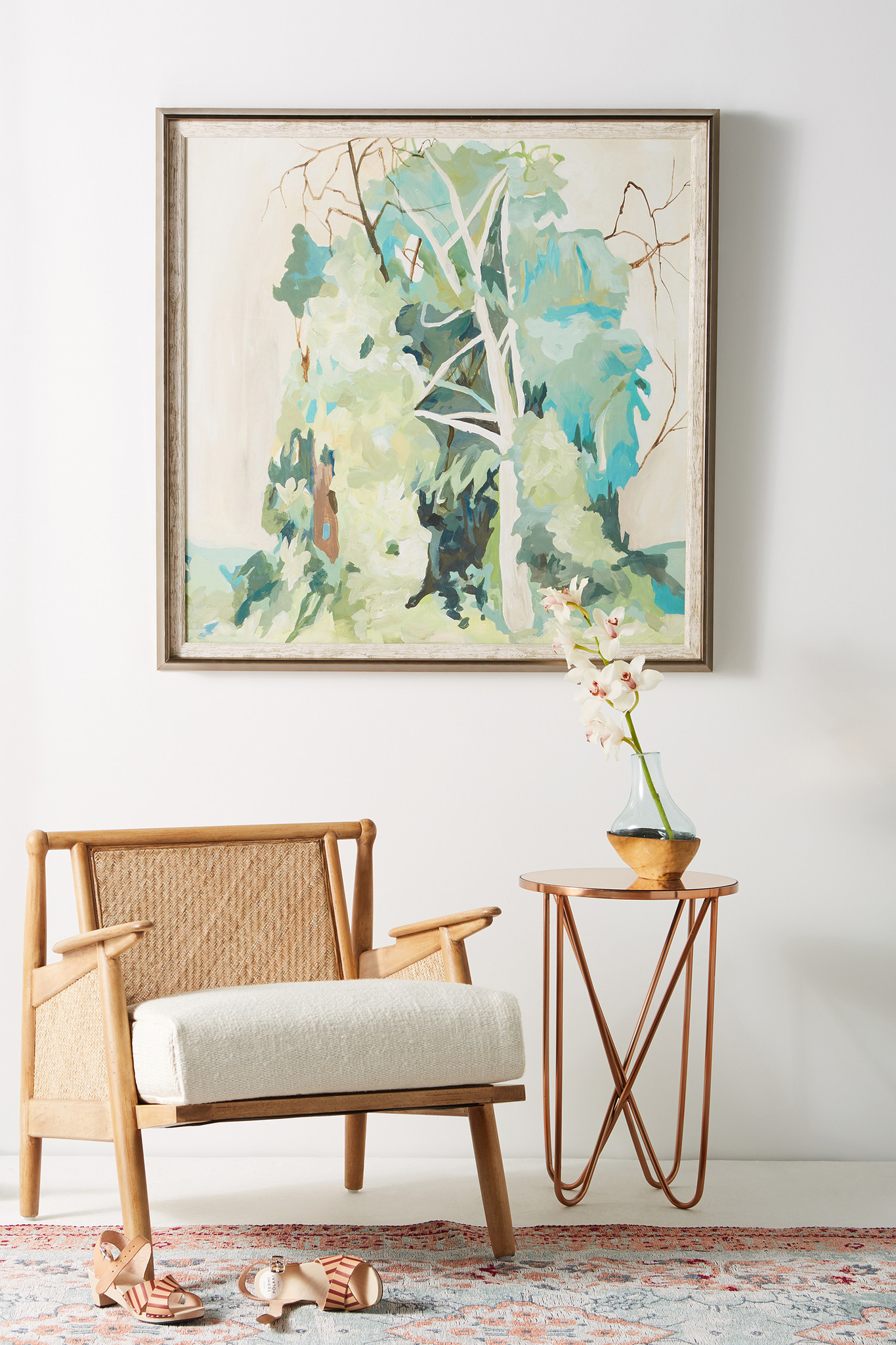 Be Well: Meditative colors, rattan and natural fibers define a spa-like retreat. Messy Thicket Wall