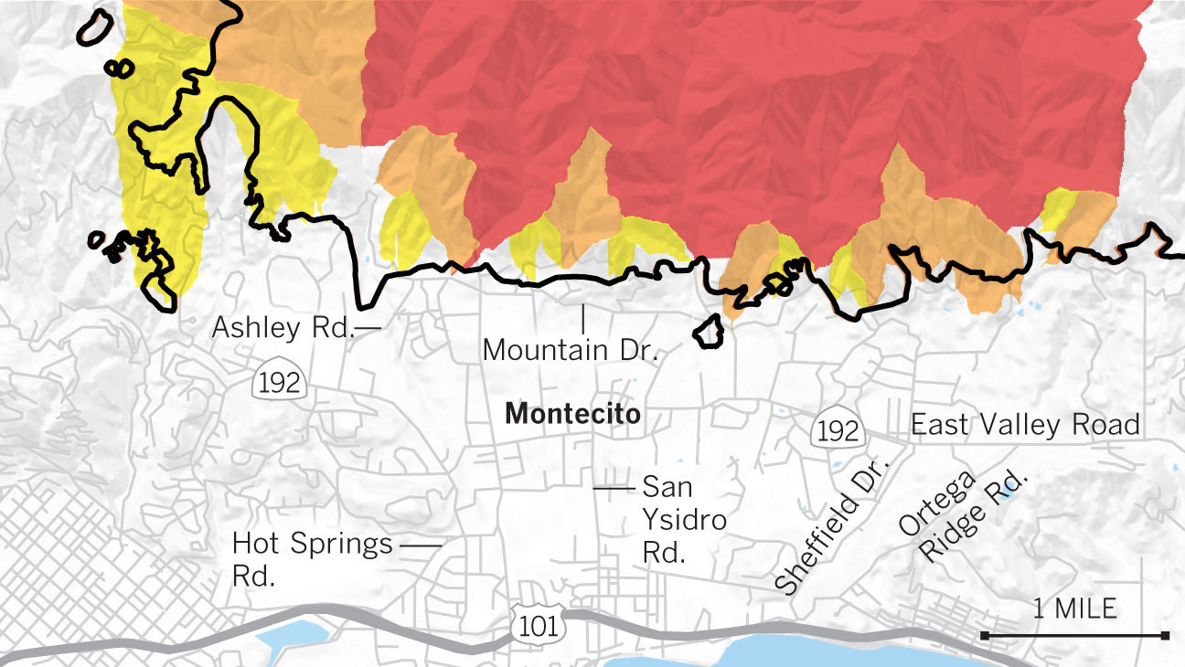 San Isidro California Map.Maps Show The Mudslide And Debris Flow Threat From The Thomas Fire
