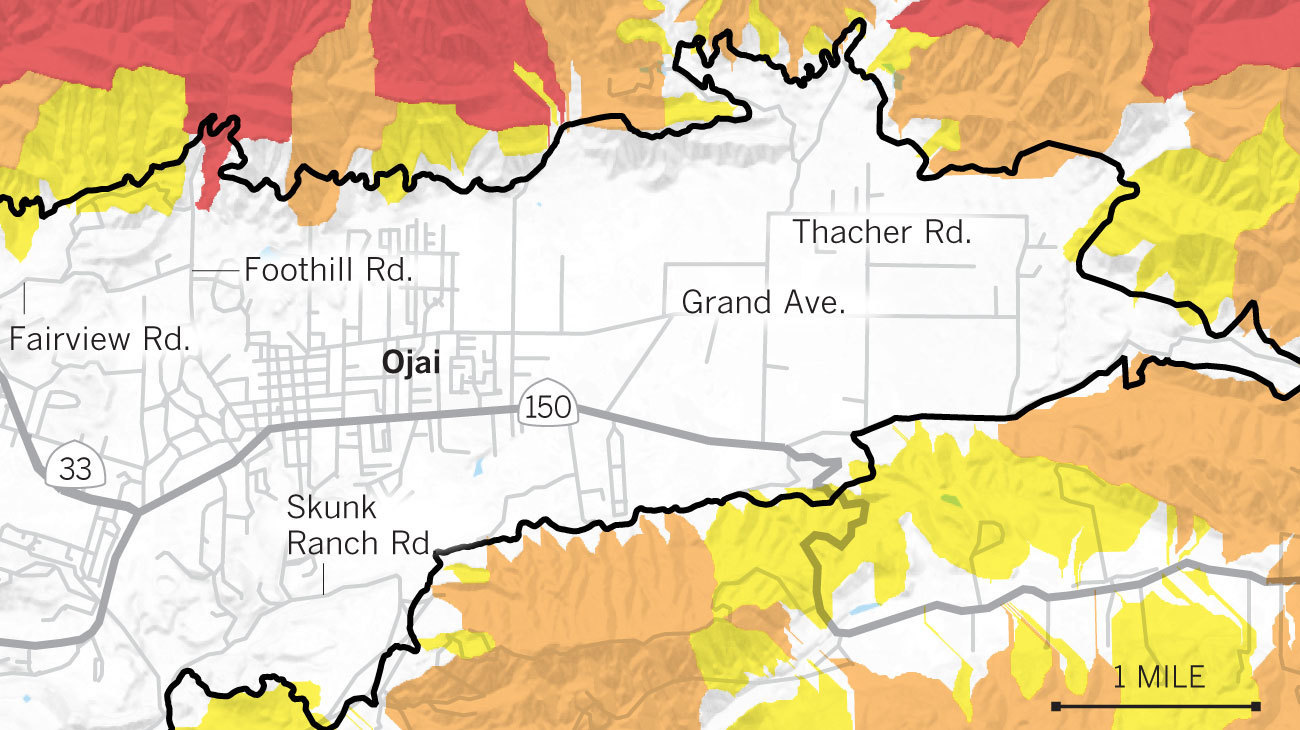 Maps Show The Mudslide And Debris Flow Threat From The Thomas Fire